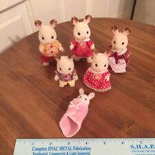 Vintage Calico Critters Creme Flocked Rabbits Lot of 6 Sylvanian Family 1985