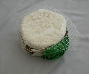 NEW PERSNICKETY GIRLS PILL BOX HAT W/ GREEN FLOWER SZ LARGE NO CLIP