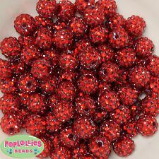 14mm Red Rhinestone Resin Bubblegum Beads Lot 20 pc.chunky gumball