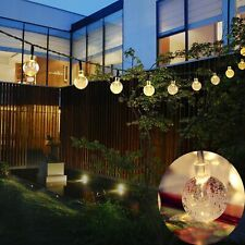 30 Solar Garden Lights String Fairy Multi LED Crystal Globe Ball Weatherproof UK