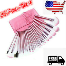 22pcs/set Professional Cosmetic Makeup Brush Foundation Brushes with Bag Pink
