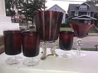 Vintage Royal Ruby Red ICE BUCKET Bar Set Martini Ruby Red Cut To Clear Glasses