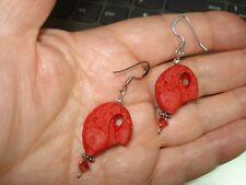 "2"" Drop Dangle Red Cinnabar Resin 7/8"" Fish & Crystal Silver Plated Earrings"