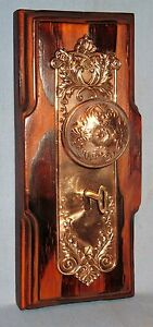 ANTIQUE BRASS SALESMAN SAMPLE DOOR BACKPLATE KNOB & KEY VICTORIAN DESIGN MOUNTED