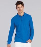 Gildan Long Sleeve Premium Cotton Double Piqu Polo Shirt Pique Mens Euro-Fit