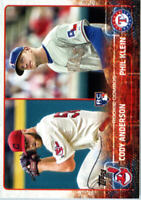 2015 Topps Update Baseball #US52 Cody Anderson RC Indians/Phil Klein RC Rangers