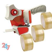 3 XSTRONGROLLS CLEAR TAPE 48mm X 66m & 1 X PACKING TAPE GUN DISPENSER 50mm  A118