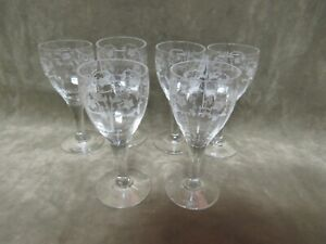 Vintage 1920's Fostoria Glass Floral Etch 212 Small Wine/Cordial Stem Lot of 6