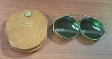 VINTAGE CALOBAR, AMERICAN OPTICAL, GREEN GLASS BRASS CLIP-ON SUN GLASSES w/Case