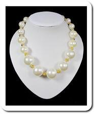 Perlenkette Kugelkette Halskette Kette Collier Perlen aus Acryl Shamballa Weiß