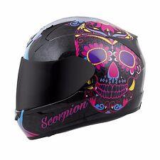 SCORPION EXO-R410 Dia De Los Muertos Sugar Skull Motorcycle Helmet Pink SIZE XL