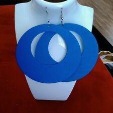 African Big Round Wooden Dangle Drop Hook Earrings Blue