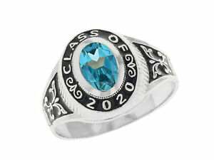 10k or 14k White Gold Simulated December Birthstone 2021 Class Graduation Ring