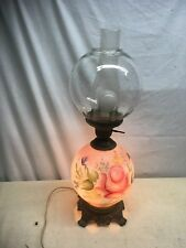 Vintage Frosted  Floral Glass Oil Lamp Metal Base 3 way   Electrified Victorian