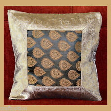 GRAY & BLACK SILK PRINT CENTER BROCADE PILLOW COVER/CUSHION COVER FROM INDIA!!