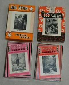 Lot of 4 vintage puzzles, 1930's era war bond, Big 10, Big Star, Perfect Picture
