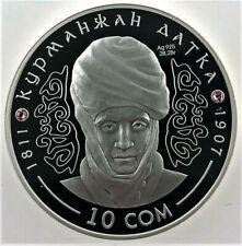 """Kyrgystan SILVER coin 10 Com """" Kurmanjan Datka """" 2012"""