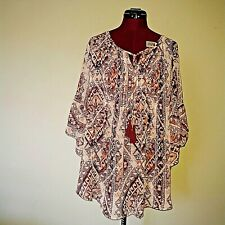 Style & Co. 8231 Size XL Womens Multi Printed Blouse Top Pintuck Sheer