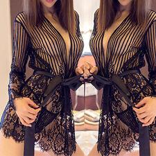 Lady Lingerie Sleepwear Robe Babydoll Dress Nightwear + G-string Underwear H M A