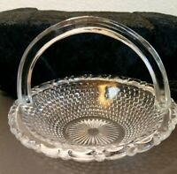 Vintage Small Crystal Glass Scalloped Edge Basket Excellent