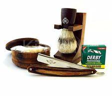 Deluxe 6 Pc Wooden Cut Throat Shavette Barber Razor Rasoir Shaving Set USA