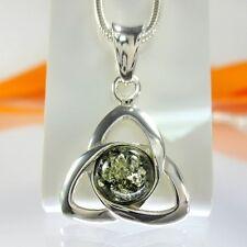 A433 triquetra Celtic Celtica remolque 925 plata joyas Bernstein Amber verde