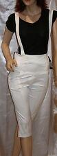 Salopette donna tg M 42 44 bianco bretelle elasticizzato made in italy capri