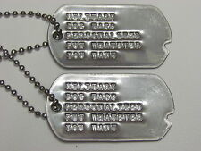 NOTCHED DOG / TOE TAGS WW2 PERSONALIZED SET MADE ON WWII  MACHINE DEBOSSED