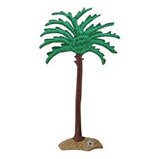 ID 1748 Beach Palm Tree Patch Tropical Scene Ocean Embroidered Iron On Applique
