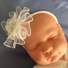 Baby Babies HEADBANDS HEADBAND large bow 0-12m pink white DIAMANTE Christening