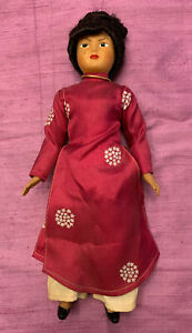 """Vintage 60s Celluloid Doll Vietnamese Woman 12"""" Traditional Clothing w necklace"""