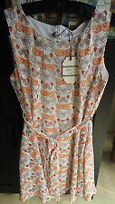 LADIES CREAM SKATER  DRESS WITH ORANGE & BROWN BUTTERFLYS  SIZE XL NEW LOOK BNWT