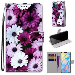 Women Girl Chrysanthemum Fashion Flip Wallet Case Back Cover For Various Phones