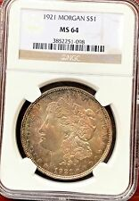 1921 streak-toned Morgan silver dollar NGC graded MS64. Last year!