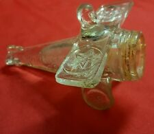 VINTAGE ♡ SPIRIT OF GOODWILL ♡ GLASS AIRPLANE CANDY CONTAINER ♡ USA