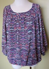 Ladies Womens 3/4 Sleeve Blouse Shirt Top Lined Print Chiffon Rockmans Size 10