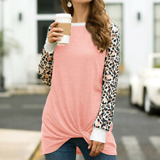 Women Fashion Loose Leopard Print Print Loose Knotted Long Sleeve Pullover Tops