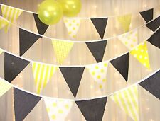 Yellow & Grey Bunting - Spots Stripes Gingham - Baby Shower Weddings - 5 metres