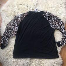 NEW Womens Black Leopard Top Shirt Sheer Long Sleeves Sz L XL