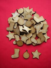 PACK B - 50  MDF MINI CHRISTMAS SHAPES - STAR / BAUBLE / CHRISTMAS STOCKING