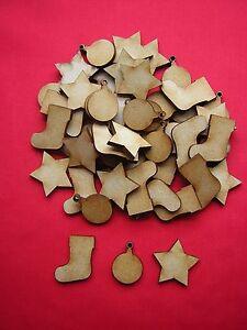 PACK B - 50  MDF MINI CHRISTMAS SHAPES - STAR / BAUBLE / CHRISTMAS STOCKING
