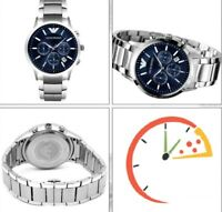 BRAND NEW EMPORIO ARMANI AR2448 STAINLESS STEEL BLUE DIAL CHRONOGRAPH MENS WATCH