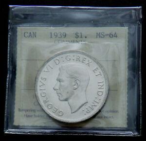 Canada 1939 George VI Silver Dollar  ICCS MS-64   #210075