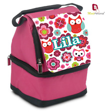 PERSONALISED  LUNCH BAG - Pink Ideal for School - Any Name Owl Design