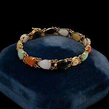 Antique Vintage Deco Retro 14k Gold Chinese Jadeite Jade Onyx Riviere Bracelet