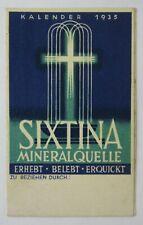 Art Deco Mineral Water Advertising Pocket Calendar Sixtina Vienna Austria 1935