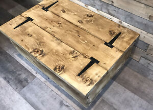 Reclaimed Rustic Chest Coffee Tables Farmhouse Solid Wood Furniture