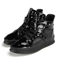 Fashion Men's Casual High Top Shoes Patent Leather Sneakers Rivet Sport Trainers