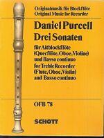 Daniel Purcell ~ Drei Sonaten für Altblockflöte und Basso continuo - Partitur