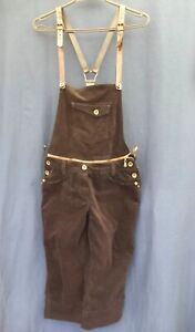 Ladies Shorts dungarees Size 12 Dark Brown check Matmazel brand Great design CH